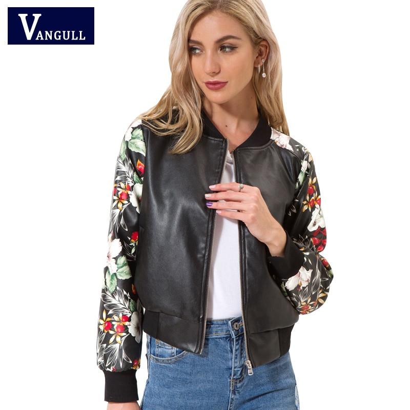 New Fashion Design Women Jacket 2018 Spring Autumn Print PU   Leather   Long Sleeve printing female Coat Zipper Baseball Lady Tops