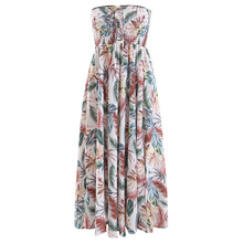 Wasteheart Summer White Women Bohemian Mid-Calf Long Dresses Printed Holiday Dress Sexy Sundress Beach Style Plus Size