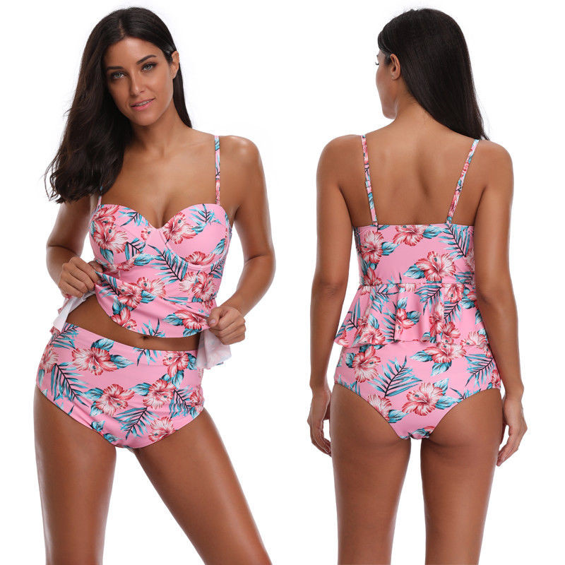 Women Push-up Padded Bra Bandage Bikini Set High Waist Swim Floral Printed Swimsuit Triangle Swimwear Bathing Biquini