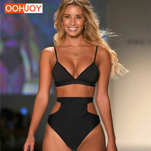 Купить с кэшбэком 2018 New High Waist Bikini Women Bathing Suit Solid Color Swimsuit S-2XL Brazilian Girl Trikini Bandage Push Up Summer Beachwear