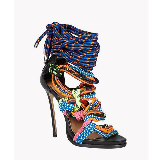 New Arrival Colorful String Lace-Up High Heels Sandals Woman 2017 Summer Sexy Peep Toe Cut-Outs Gladiator Sandals Woman Fashion new fashion sexy open toe woman sandals colorful string lace up stiletto heel shoes summer ankle strap ladies gladiator sandals