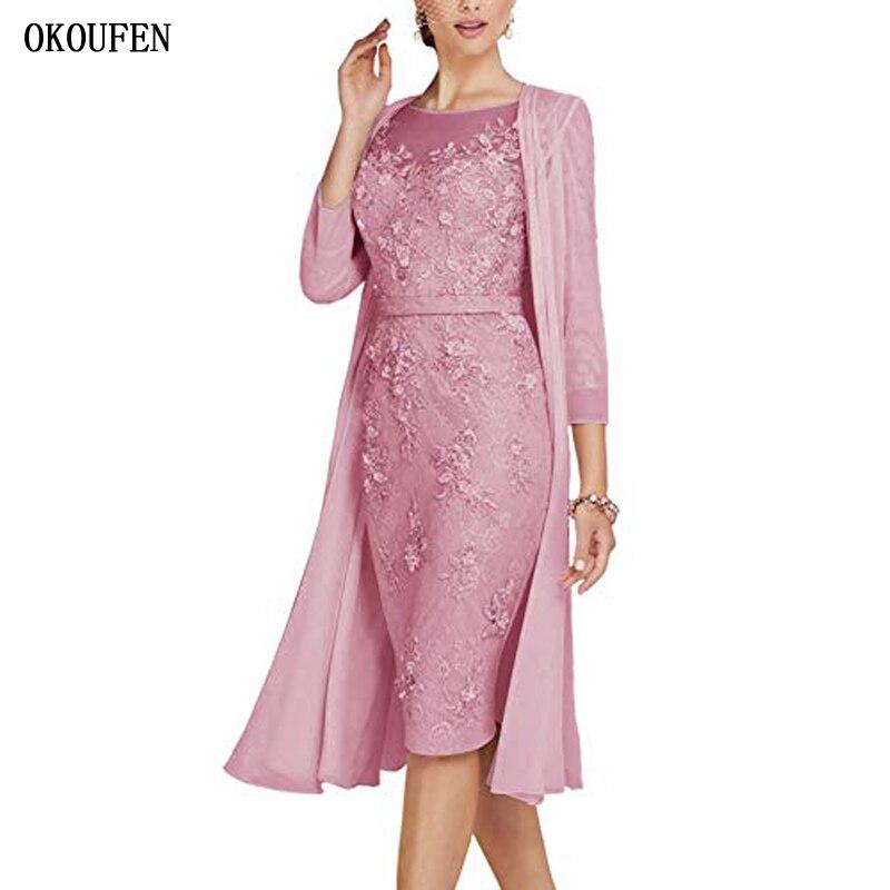 OKOUFEN Lace Short Mother Of The Bride Dresses Suit For Wedding 2019 With Short Jacket Modest Mother's Kurti Vestido De Madrinha