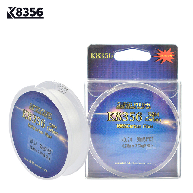 K8356 50M 100% Carbon Fiber Fly Fishing Line 0.13-0.48mm 1-10LB Fluorocarbon Carp Fishing Lines Fast Sinking Transparent Smooth