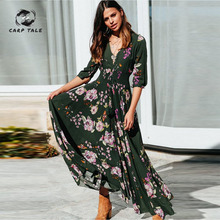 CARP TALE Multicolor paisley print elegant women dress Summer boho maxi beach holiday 2019 split long casual