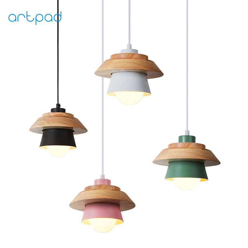 Artpad Modern Creative Nordic Wood Pendant Light for Living Room Study Bedroom Kitchen Lamp Fixtures E27 AC110V-220V 4 Colors nordic modern led pendant lamp creative imitation wood grain pendant lights e27 for kitchen dining room art deco bar ac110v 220v