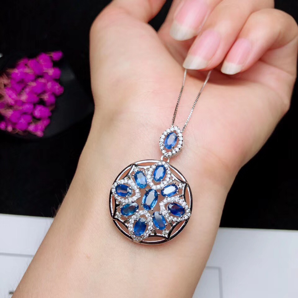 Special price.Natural sapphire necklace, 925 silver, Australian sapphire, light blue, beautiful leavesSpecial price.Natural sapphire necklace, 925 silver, Australian sapphire, light blue, beautiful leaves
