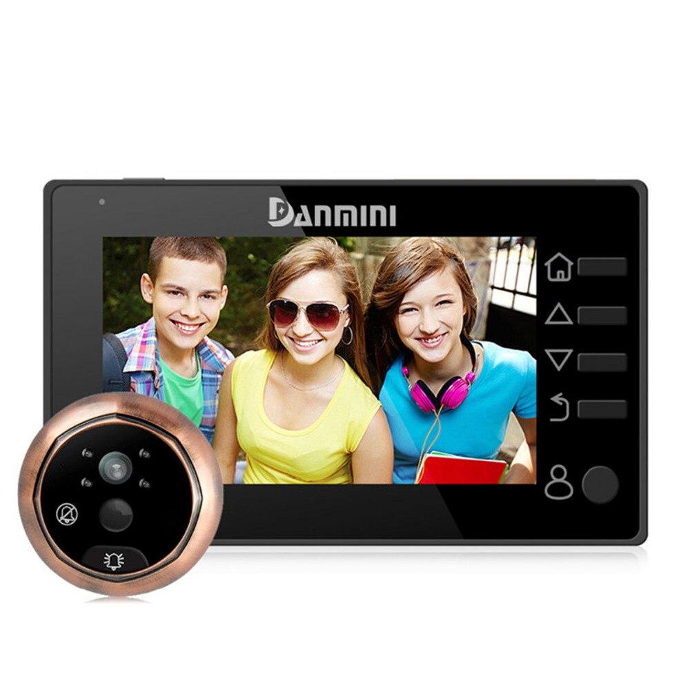 DANMINI 4,3 pulgadas timbre digitales puerta mirilla Cámara 3MP Video inalámbrico timbre de la visión nocturna IR Sensor de movimiento