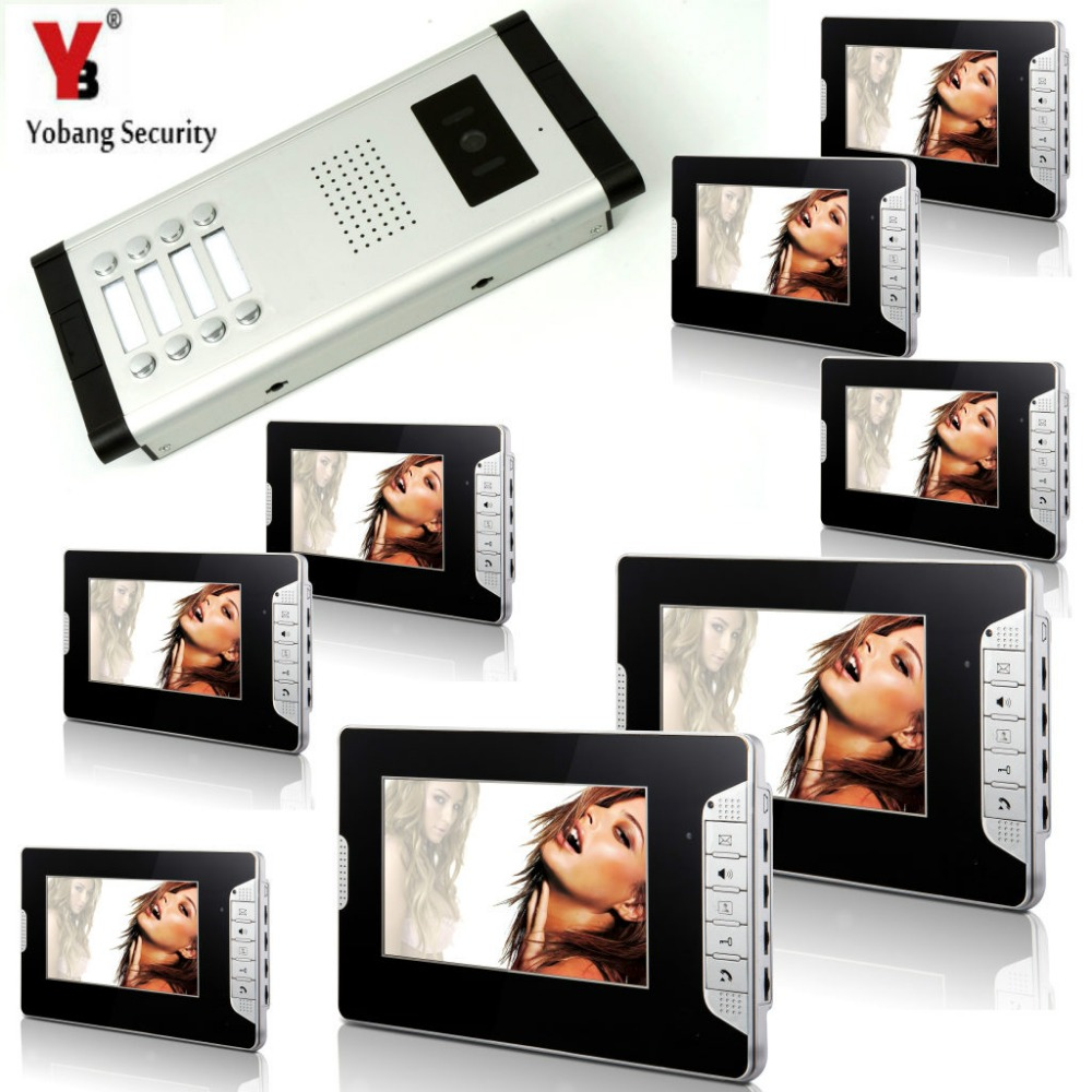 Yobang Security Video Intercom Doorbell Door Phone System 7'Inch Monitor Visual Intercom Doorbell System For 8 Unit Apartment apartment intercom system 7 inch mointor 4 unit apartment video door phone intercom system video intercom doorbell doorphone kit