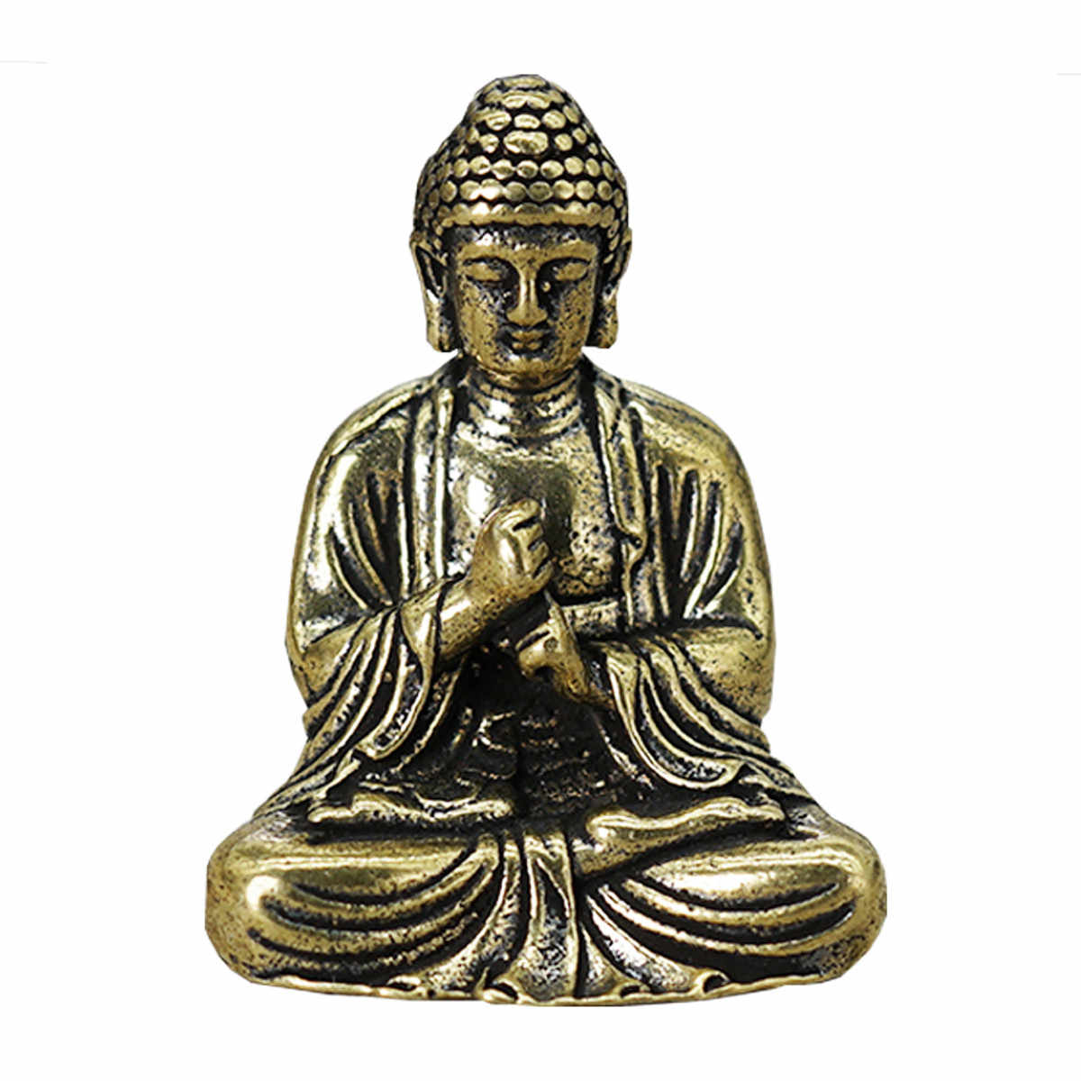 Chinese Buddhism Pure Copper Brass Bronze Sakyamuni Buddha Small Statue Figurine Miniature Home Decoration Craft 3x2.2cm New
