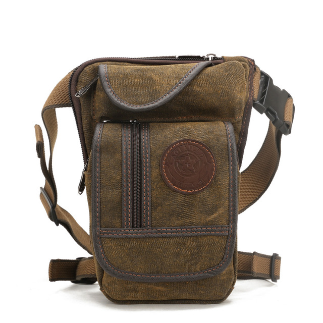 Men Canvas Waist Drop Leg Bag Thigh Hip Belt Bum Fanny Pack Military Tactical Travel Riding Motorcycle Messenger Shoulder Bags 2