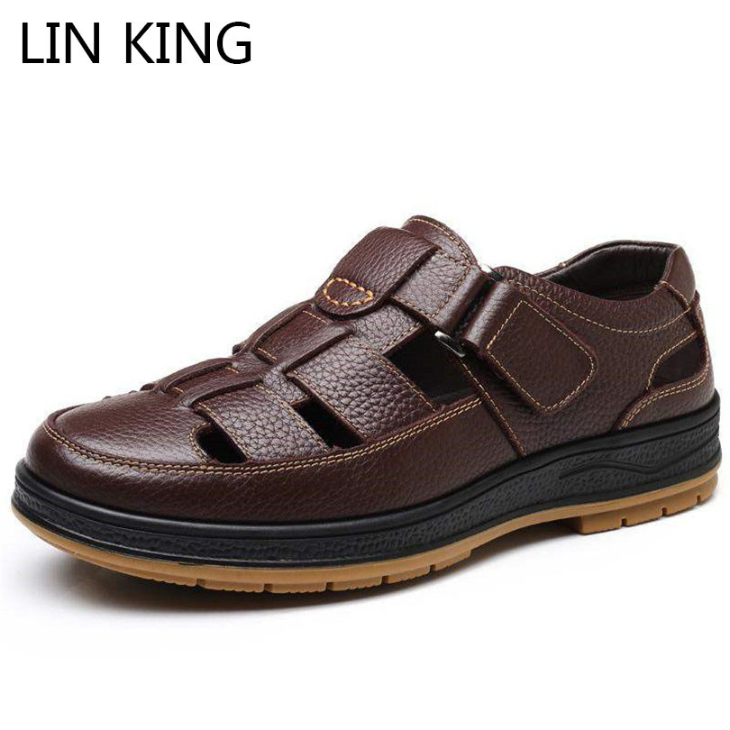 LIN KING New Leisure Sandals For Men Hollow Out Genuine Leather Business Shoes Soft Sole Summer Outside Footwear Shoes For Male