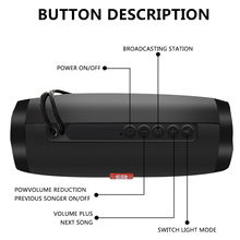 10W Wireless Bluetooth Speaker with Colorful LED Light Outdoor Portable Column FM Radio TF with Mic Hands Free Stereo Subwoofer