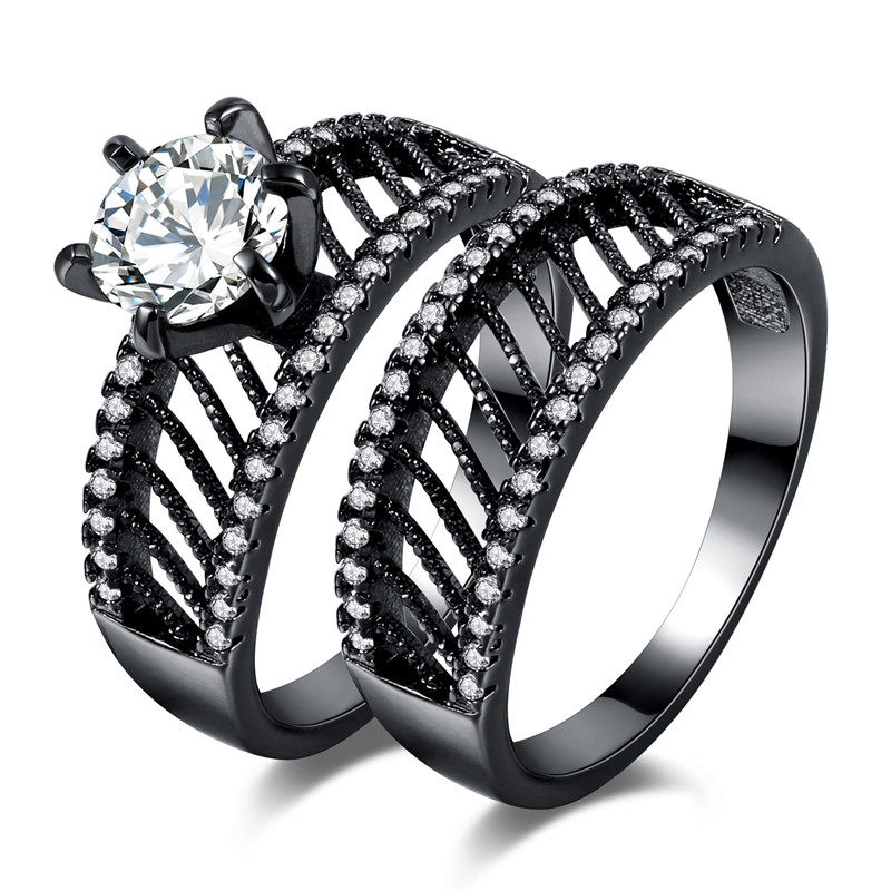 MJARTORIA 2 PCs/Set Couple Crystal Zircon Stone Rings For Women Men Double Ring Set Twill Hollow Black Wedding Jewelry Gifts