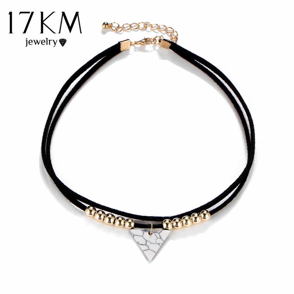 17キロメートル三角形石チョーカー二重層ユニコーンネックレス用女性ファッションビーズペンダントコリアー革ネックレス自由奔放に生きるジュエリー