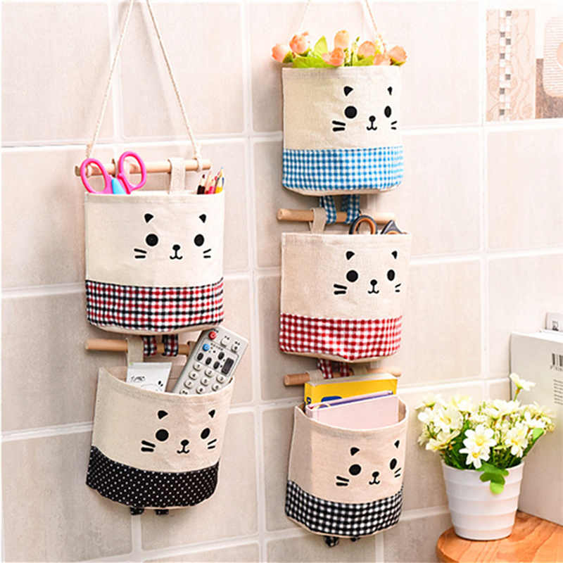 Cartoon Hanging Storage Bag Cotton Linen Wardrobe Hang Bag Wall Pouch Cosmetic Toy Organizer Household Multifunction Storage Box