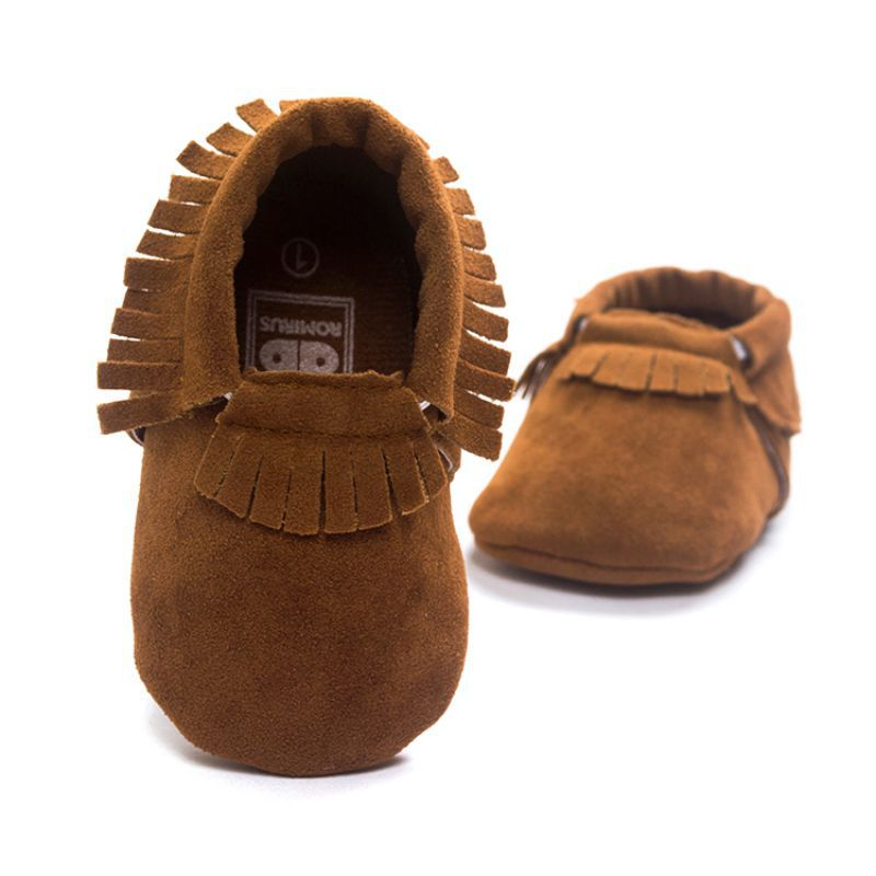 Pretty Hot PU Suede Leather Newborn Baby Boy Girl Moccasins Soft Moccs Shoes Bebe Fringe Soft Soled Non-slip Footwear Crib Shoes
