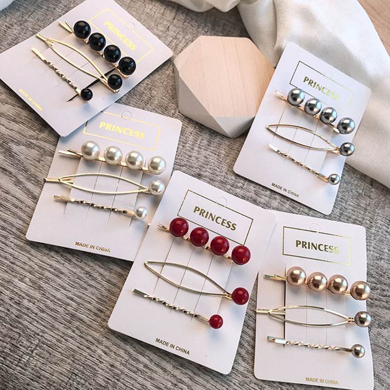 Apparel Accessories 3pcs/set Women Simple High-polished Simulated-pearls Hairpins Ladies Elegant Pearls Hair Clips For Wedding Party Holiday 5 Color Matching In Colour