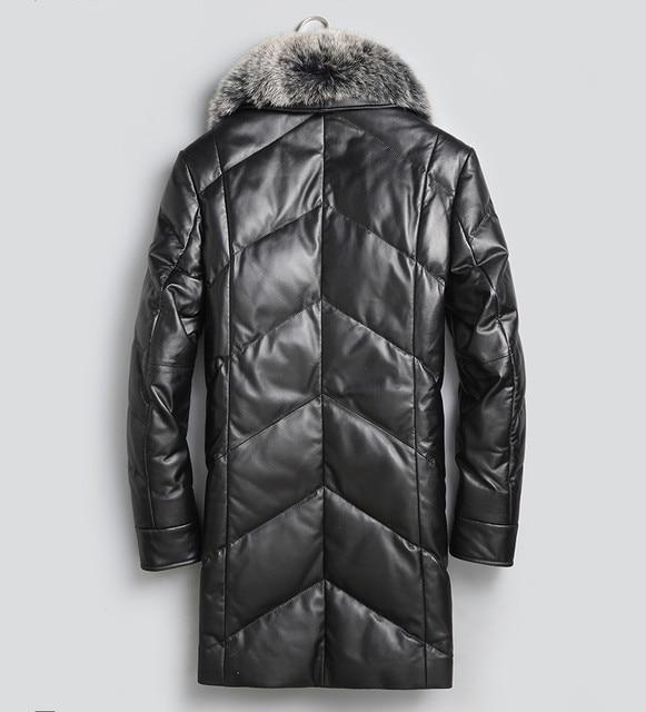 YOLANFAIRY Geniune Leather Jacket Men Sheepskin Leather Duck Down Coat With Real Fox Fur Collar Winter Warm Thick Outwear MF391 2