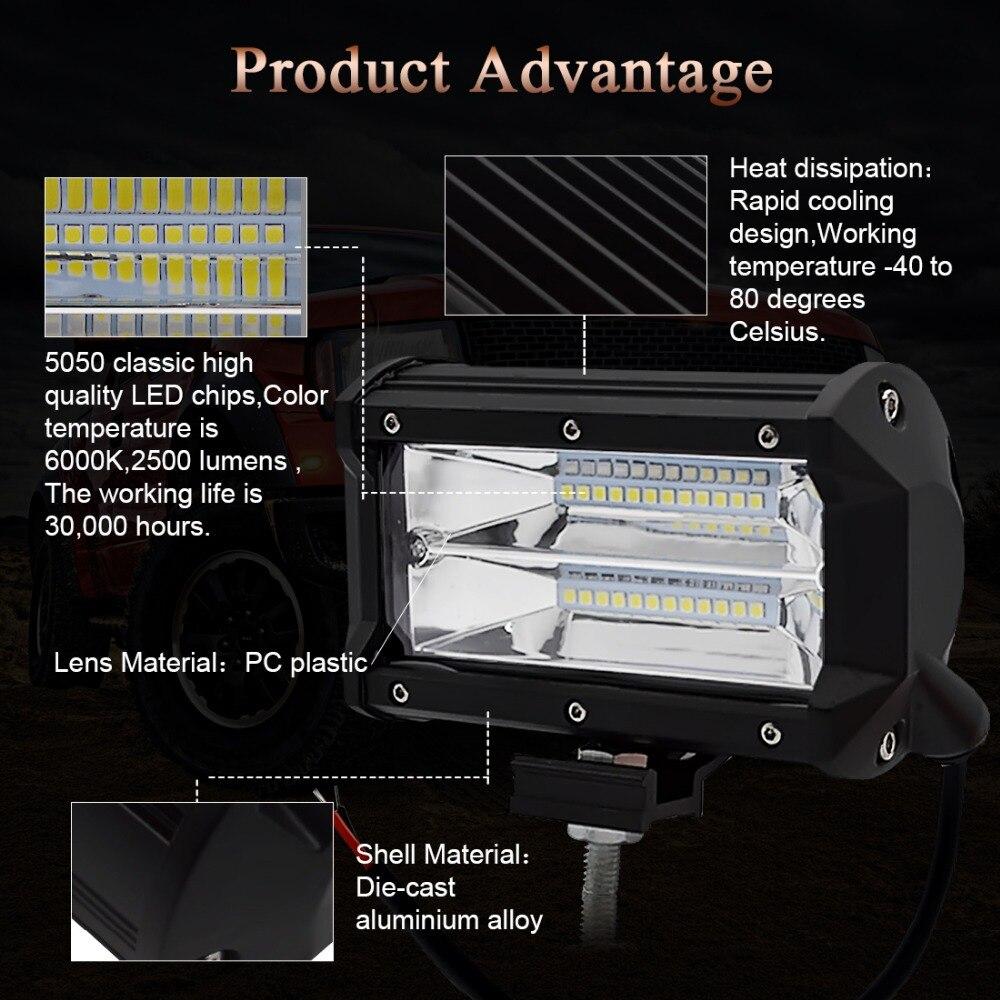 Image 2 - Safego 4 5 дюймов 60 Вт 72 Вт светодиодный рабочий свет бар 12 В точечный прожектор чипы внедорожный 4x4 противотуманный свет дальнего света Лампа для грузовика лодка упаковка 24 В-in Световая рейка/рабочее освещение from Автомобили и мотоциклы