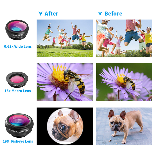 APEXEL Phone Lens Kit Fisheye Wide Angle macro 18X telescope Lens telephoto with 3 in 1 lens for Samsung Huawei all smartphones 3