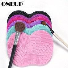 ONEUP Волшебный силиконовый коврик для очистки кистей, косметическая кисть для мытья макияжа, кисти для бровей, чистящая подушечка, скребок, доска для макияжа, инструмент для очистки