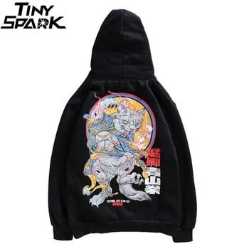 Sudadera japonesa Harajuku Streetwear con capucha Anime gato malvado Hip Hop  para hombre Sudadera con capucha de dibujos animados pulóver algodón Casual  ... 0e9a4f0d5bb