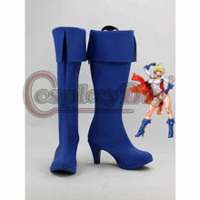 DC Comics Cosplay Boots Power Girl Superhero Blue Cosplay Shoes For Adult Custom Made  D0425