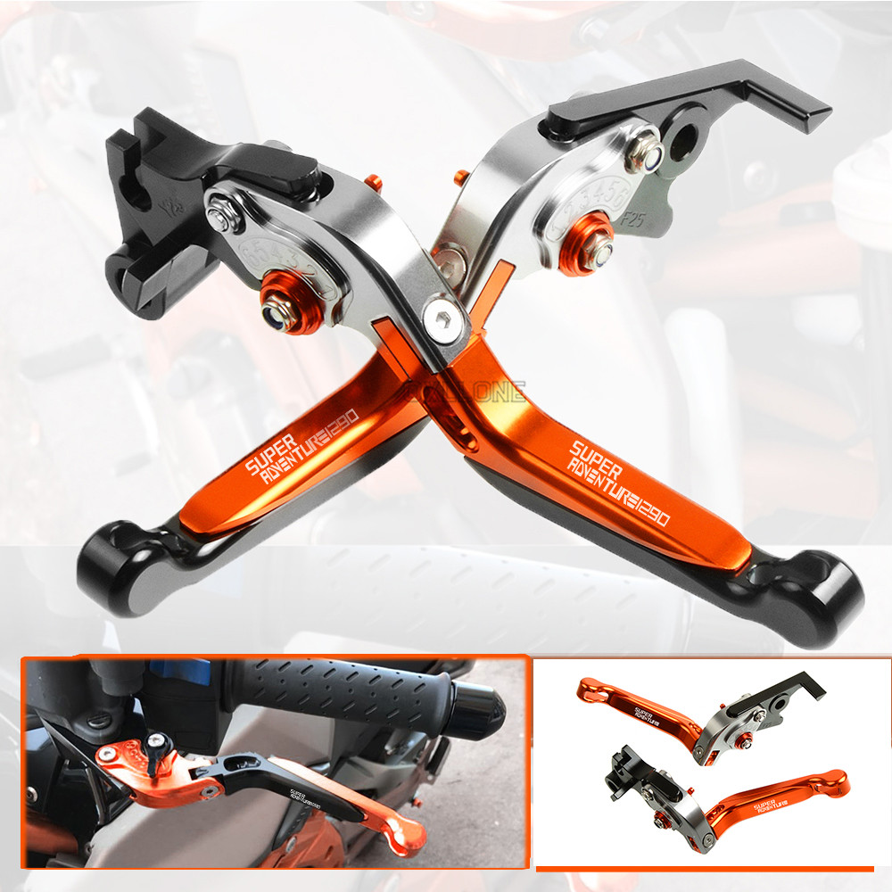 Up with logo Motorbike Brake CNC Adjustable Folding Extendable Brake Clutch Levers Set For KTM SupeR AdventuRe 1290 2015 2016 in Levers Ropes Cables from Automobiles Motorcycles