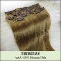 """20 """" - 26 """" Remy cabelo clipes retas em extensões 105 g médio dourado # 10"""