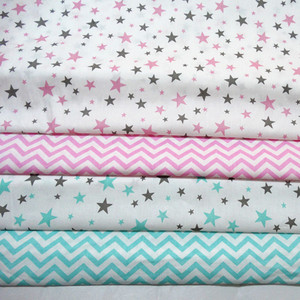 Printed Stars Wave Baby Cotton Quilting Fabric by half meter for DIY Sewing Bed Sheet Dress making cotton fabric 50*160cm(China)
