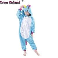 High Quality Winter Kids Animal New Pink Blue Wings Unicorn Kigurumi Christmas Pajamas Onesies Child Cosplay