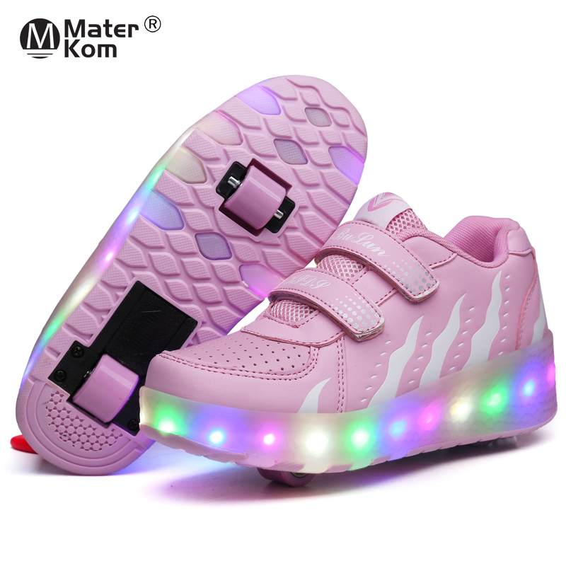 Two Wheels Luminous Sneakers on Wheels Led Light Roller Skate Shoes for Children Kids Led Shoes