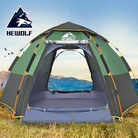 Hewolf 2 in 1 Automatic Camping Tents Waterproof Sun Family Self driving Outdoor Travel Hiking Beach Teepee for 3 4/5 8 Person Tents     -