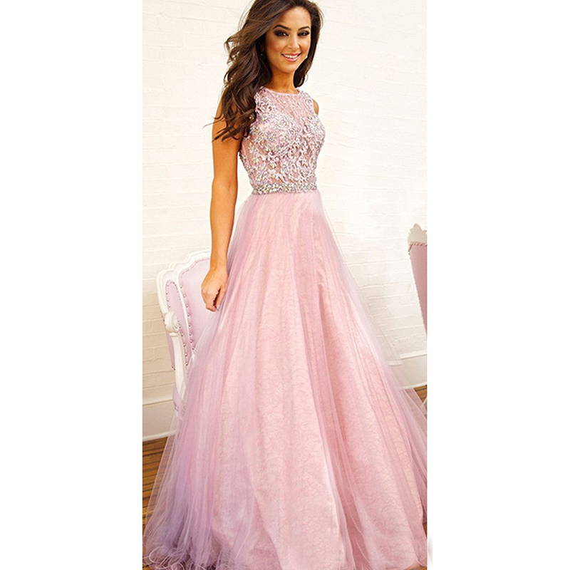 Classic Pink Tulle Prom Dresses 2017 Beaded Stones Lace Prom Dress ...