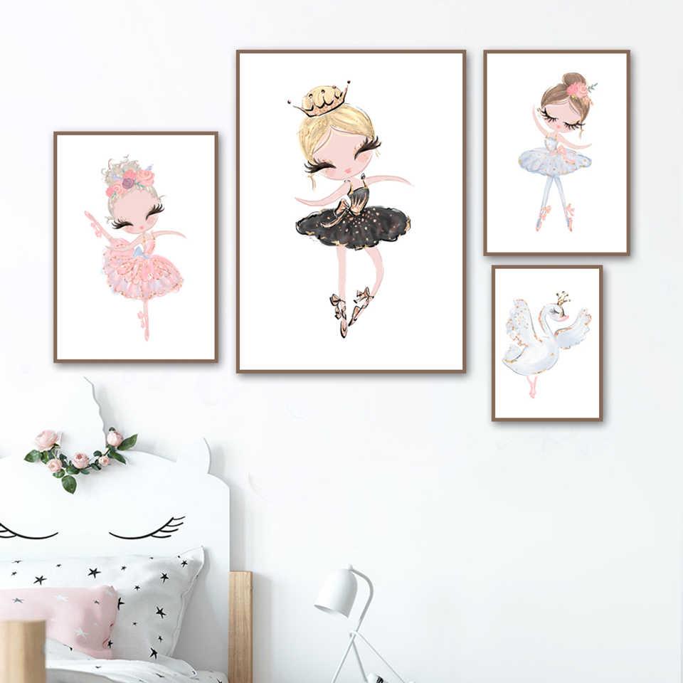 Wall Art Home Decor Schilderen Nordic Canvas Schattige Kleine Ballet Meisje Verse Foto Modern Gedrukt Poster Voor Woonkamer