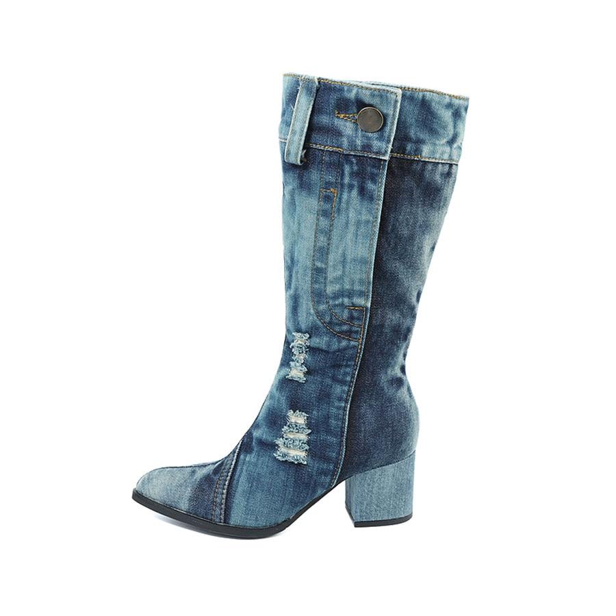 Las And Grueso Señoras Nuevo Denim Y El Martin Botas Zapatos Blue En Otoño Tacón 2018 De Con Alto Invierno White Lona HqaOwp
