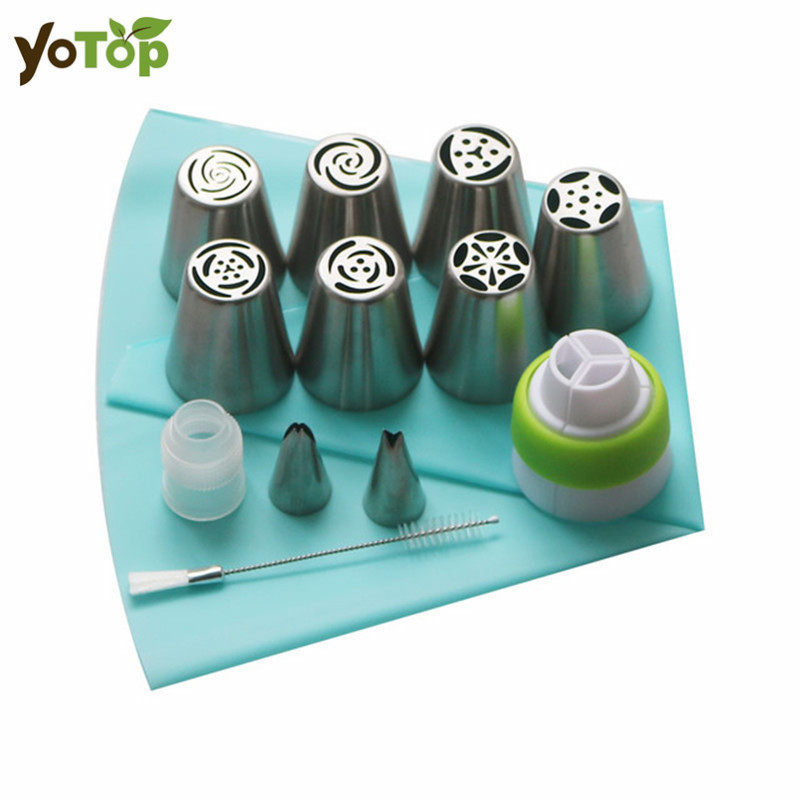 YOTOP 13PCS/Set Russian Icing Piping Tips Silicone Bag 2 Coupler Leaf Nozzles Brush Cupcake Rose Cream Bakeware Cake Decorating
