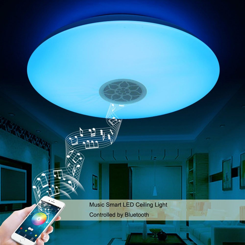 Music led ceiling light with bluetooth control color changing rgb dimmable app 24w music led ceiling light with bluetooth control color changing lighting led ceiling arubaitofo Choice Image