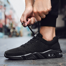 SUROM Breathable Sneakers Men Shoes Casual Fashion Mesh Lightweight Lace Up Flat Walking Air Cushion Sole Non-slip