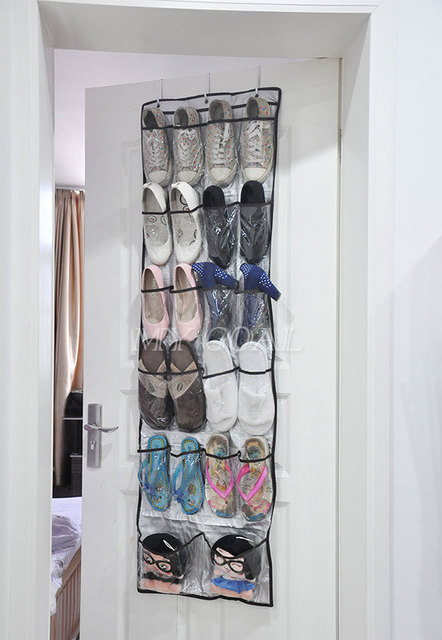 22 Pockets Clear Over Door Hanging Bag Shoe Rack Hanger Storage Tidy  Organizer Hot