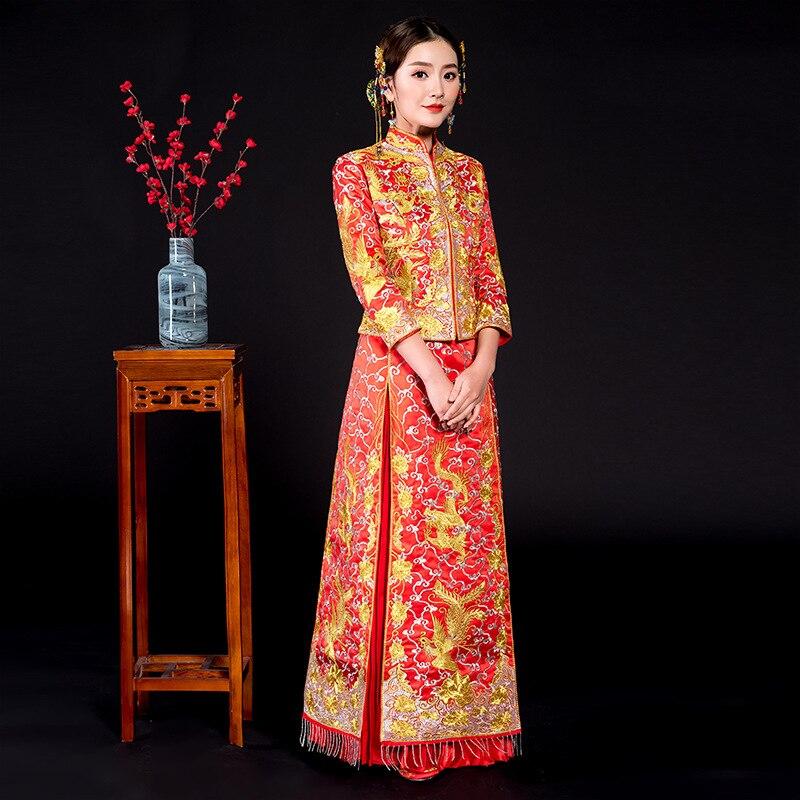 Винтаж вышивкой Феникс Ципао современные китайские традиционные свадебное платье Для женщин Vestido Oriental воротники Элегантное Длинное Ципао