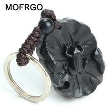 Keychain Amulet Frog Pendant Wood for All-The-Best Ebony Good-Luck Lotus-Leaf Creative
