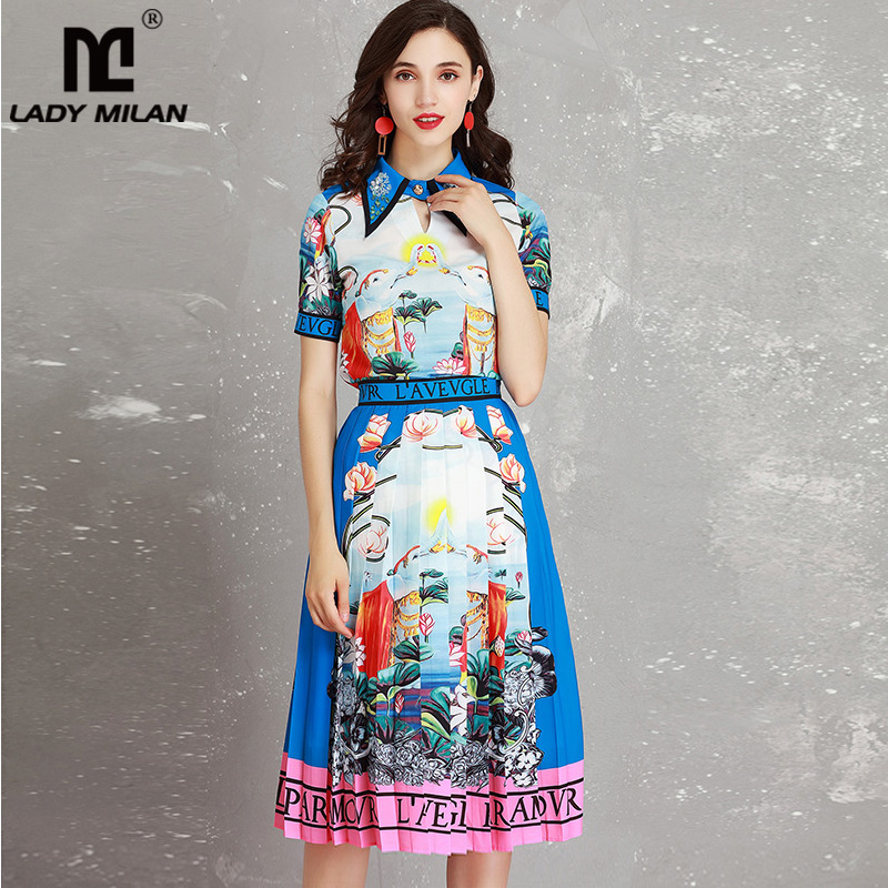 Lady Milan Womens Turn Down Collar Printed Shirt Sexy Keyhole with Pleated Skirts Fashion Runway Twinsets Two Piece Dresses Set