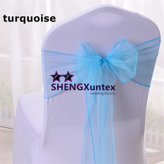 Turquoise Color Organza Chair Sash