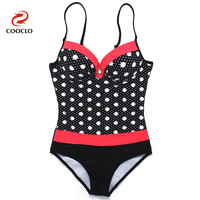 COOCLO New Style One Piece Swimwear Women Beachwear Padded Push up Print Swimsuit Cut Out Bathing Suits Vintate Monokini Female