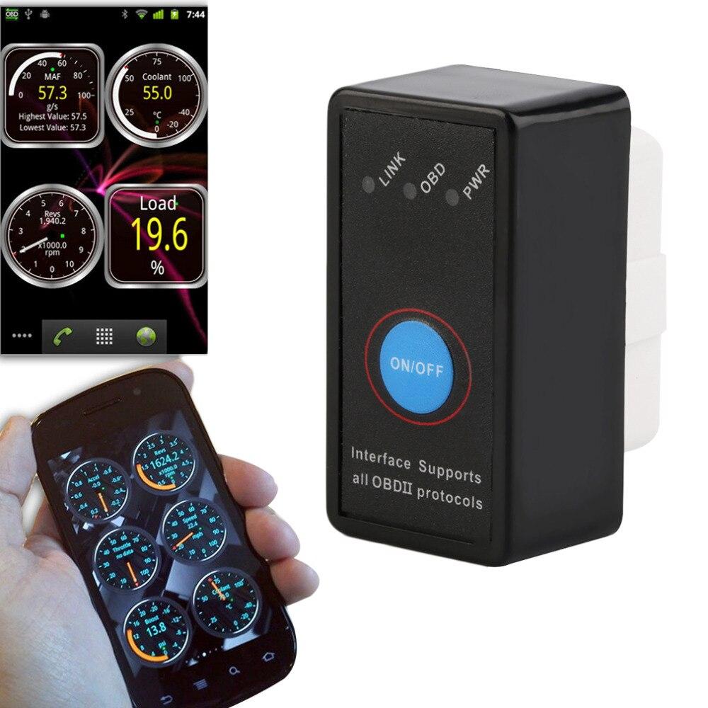 Auto Mini V2.1 ELM327 Bluetooth ELM 327 OBD2 OBD ii CAN-BUS herramienta de diagnóstico del explorador del coche interruptor funciona en android Symbian de Windows