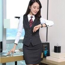 Формальные Полосатый Черный Костюмы юбочные для женщин Пиджаки для женщин с жилет пальто и юбка для дамы Офис Единые Стили Блейзер жилет плюс Размеры