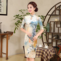 New Autumn Cheongsam Chinese Traditional Dress Silk Satin Half Sleeve Female Stand Neck Qipao Fresh Print Chinese Qipao Dresses
