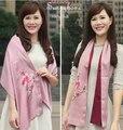Розовый 100% сатин ремесел сян вышивка Шарф Лоскутное Шелковые Платки и шарфы шелковые формальные партии high end пашмины