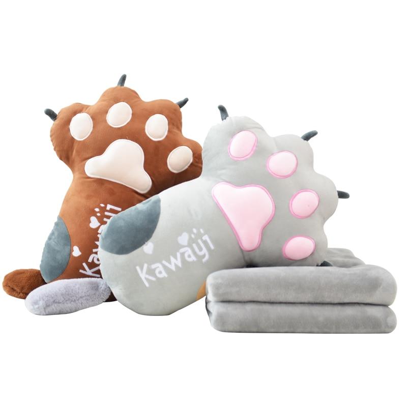 Kawaii Cat Claw Plush Pillow Stuffed Cute Animal Toys Cushion Girls Sleeping Blanket Air Conditioning Blanket Creative Gift Doll super cute 6 colors 35x30cm blanket 1x1 6m hamster plush pillow cushion cloth doll stuffed animals kids birthday gift toys